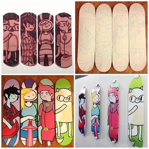 from band-aid doodles to painted skateboards hanging in a gallery #adventuretime #mondotees | by pilihp