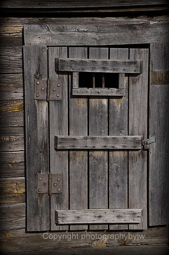 Old Jail Door Old Jail Door Rough Wood And Iron Bars A