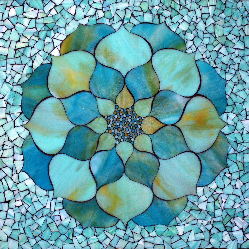 Turquoise Lotus Flower Stained Glass Mosaic By Kasia Pol Flickr