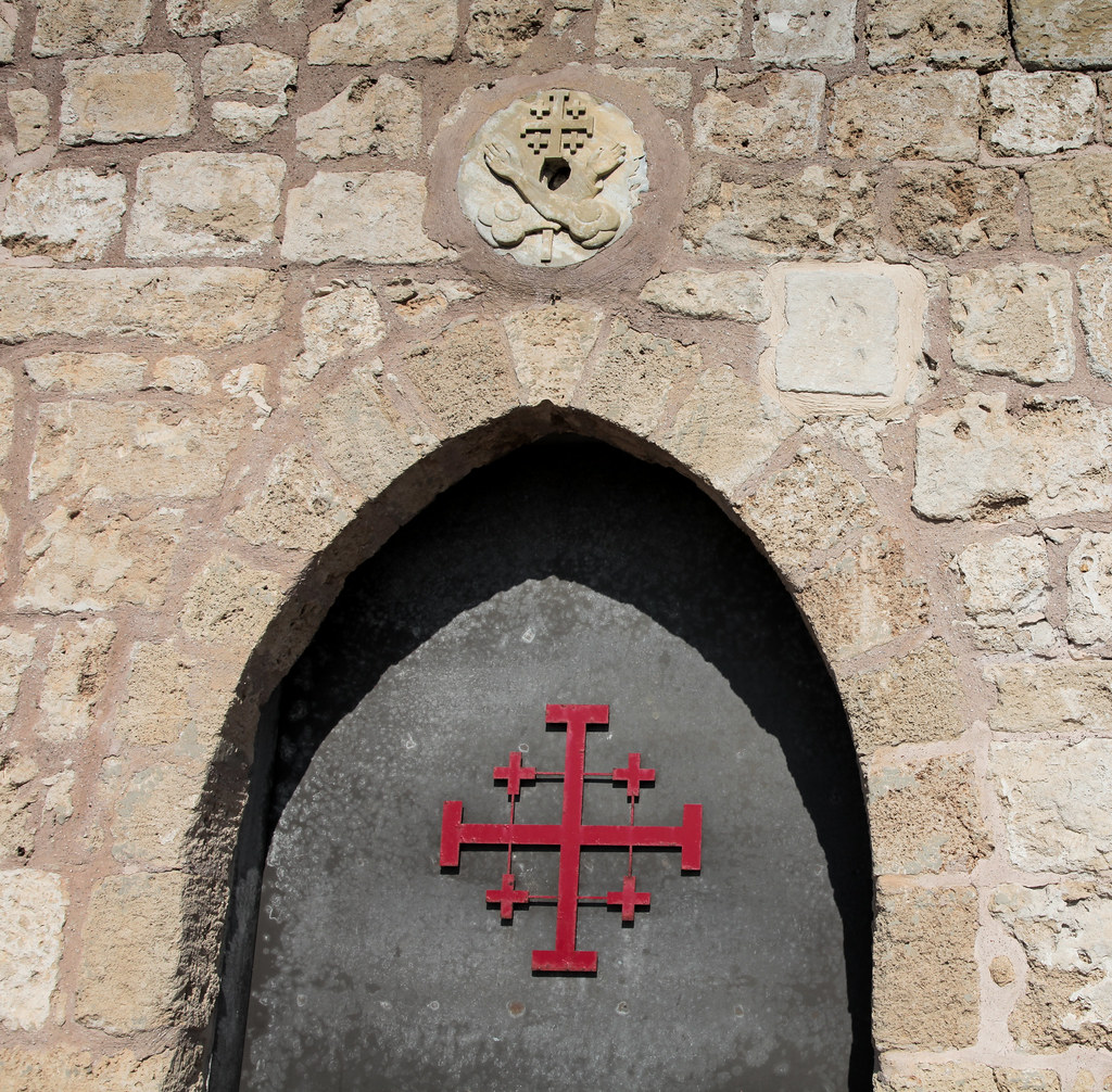 the jerusalem cross or crusader cross on the door to st
