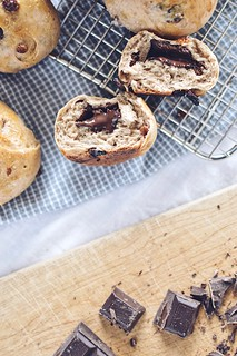 chocolate cinnamon raisin buns | by Hapaway