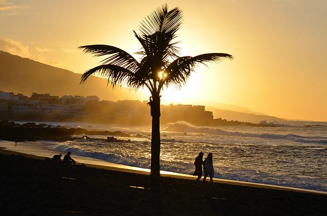 Sunset over Playa Jardín, Puerto de la Cruz, Tenerife