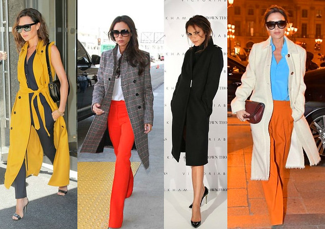 Victoria-Beckham-on-black-pink-yellow-Long-overcoats