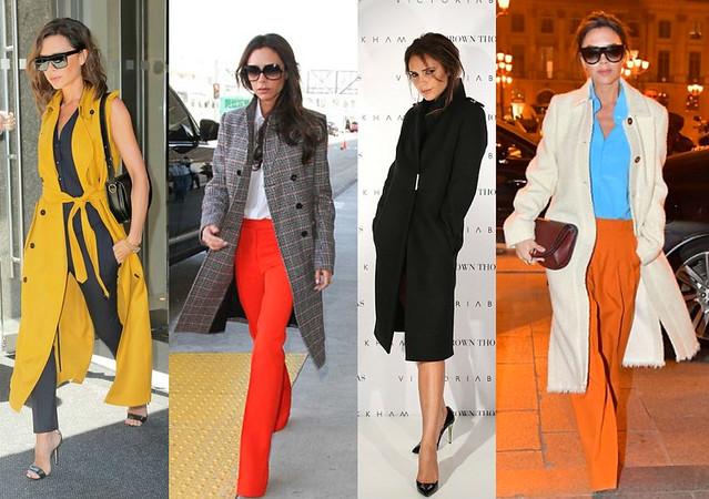 Victoria-Beckham-on-black-pink-yellow-Long-overcoats
