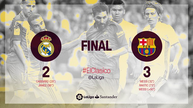 La Liga (Jornada 33): Real Madrid 2 - FC Barcelona 3