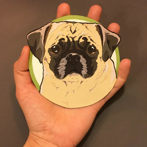 Custom Paper Pet Portrait - Pug