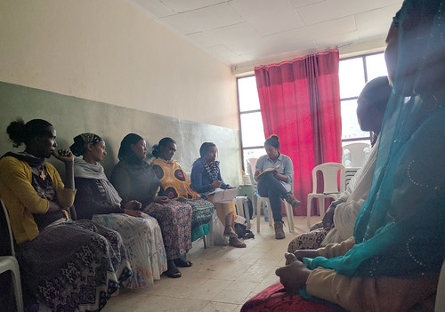 Melanie Rekha Ramasawmy conducts group interview with women poultry farmers in peri-urban Addis Ababa.