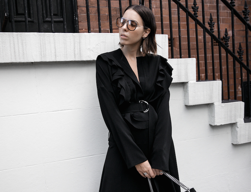 all black minimal street style gucci dionysus sunglasses mytheresa fashion blogger georgia alice frill dress loafer mules theundone  (5 of 11)