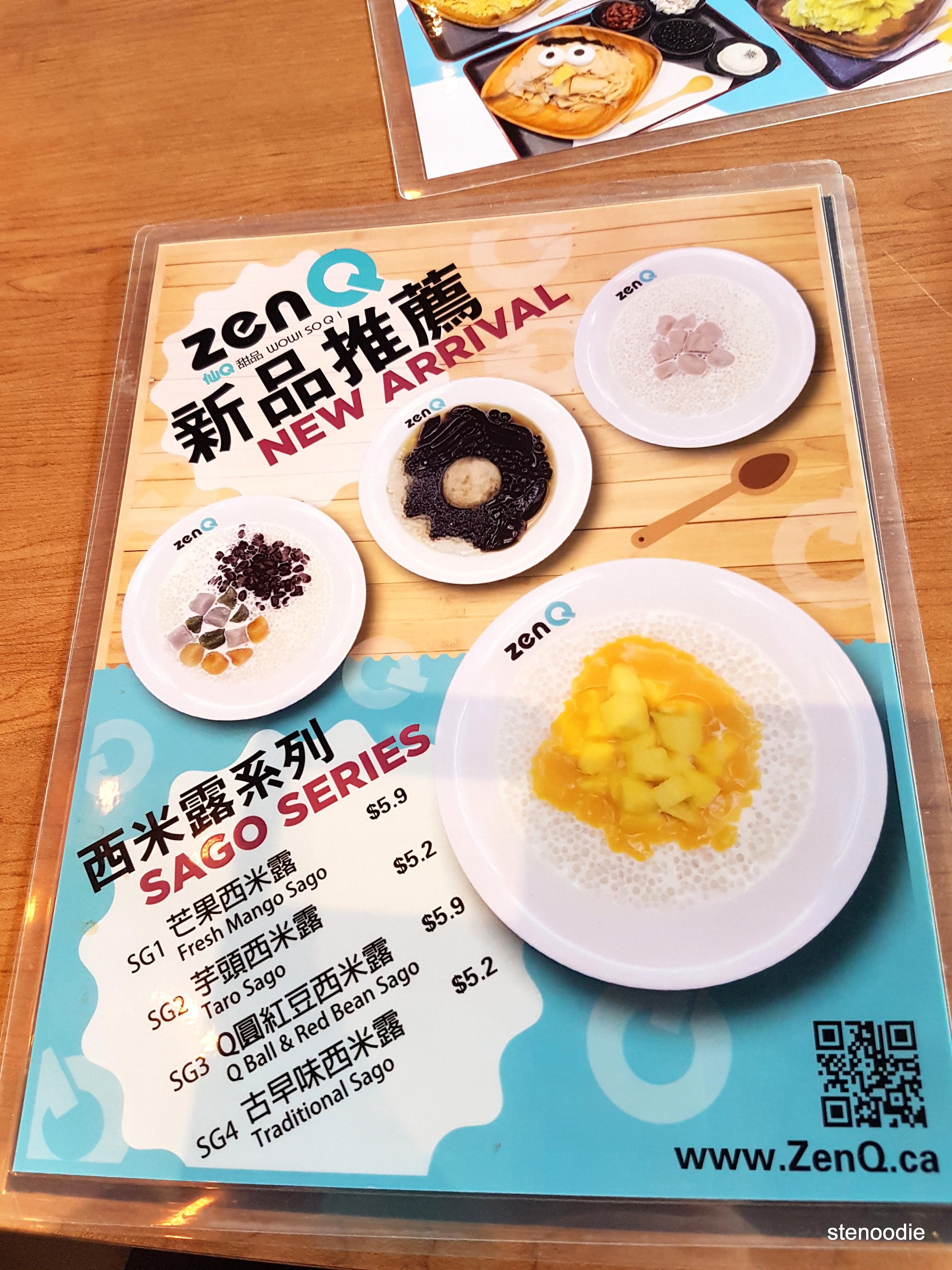ZenQ new arrival menu