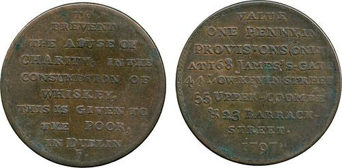 1797 Irish One Penny Provisions Token