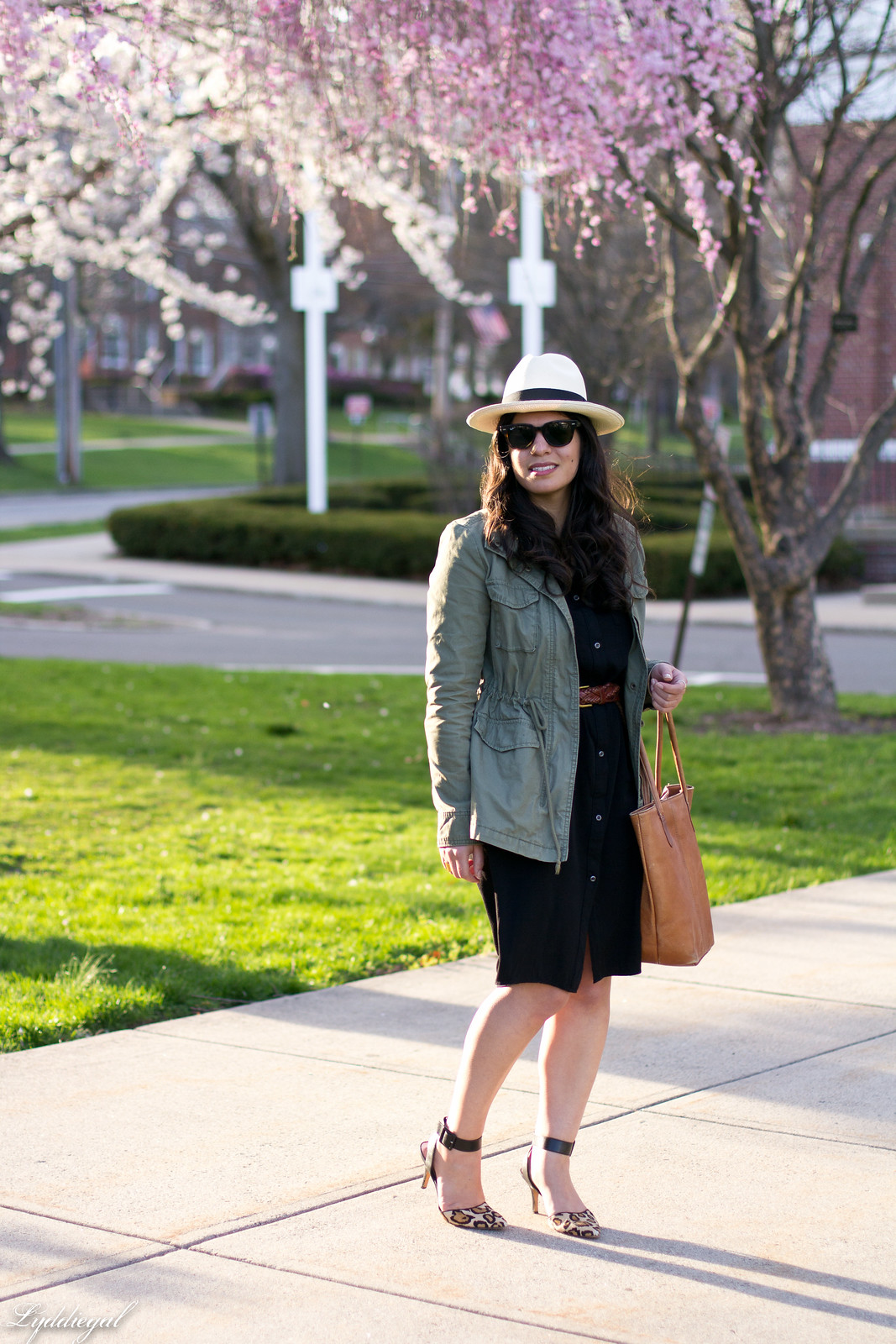 black shirt dress, field jacket, panama hat, leopard pumps-4.jpg