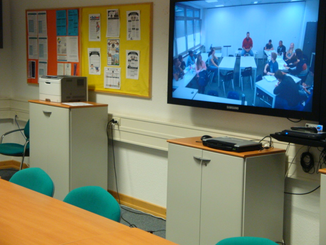 Modular Classroom Defined ~ Teleconference classroom students from bmhs attend ap