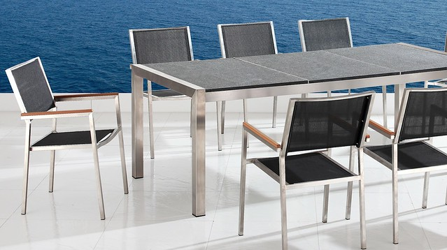 Outdoor dining set with table and chairs