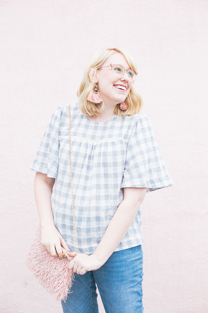 austin fashion blog gingham bell sleeves and blush15