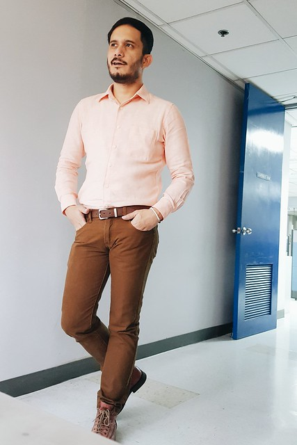 halfwhiteboy - linen peach shirt and brown pants 05