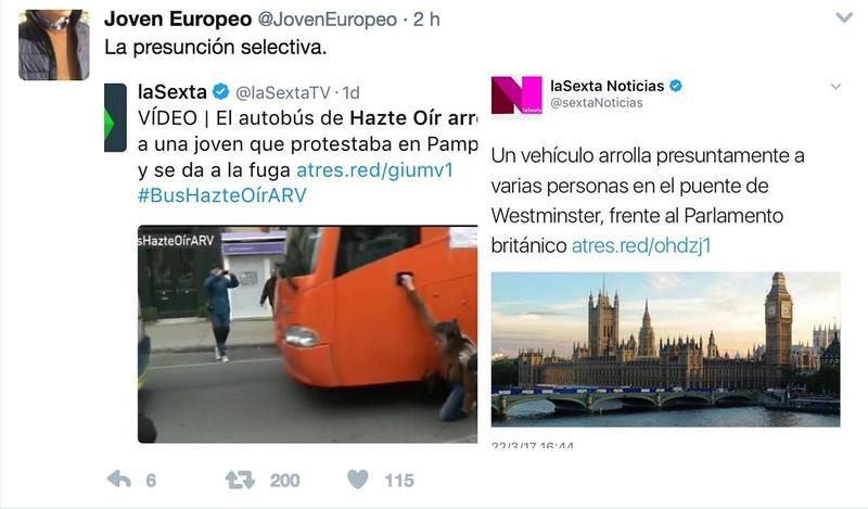 Comparativa de tweets de la Sexta. Ecuanimidad.