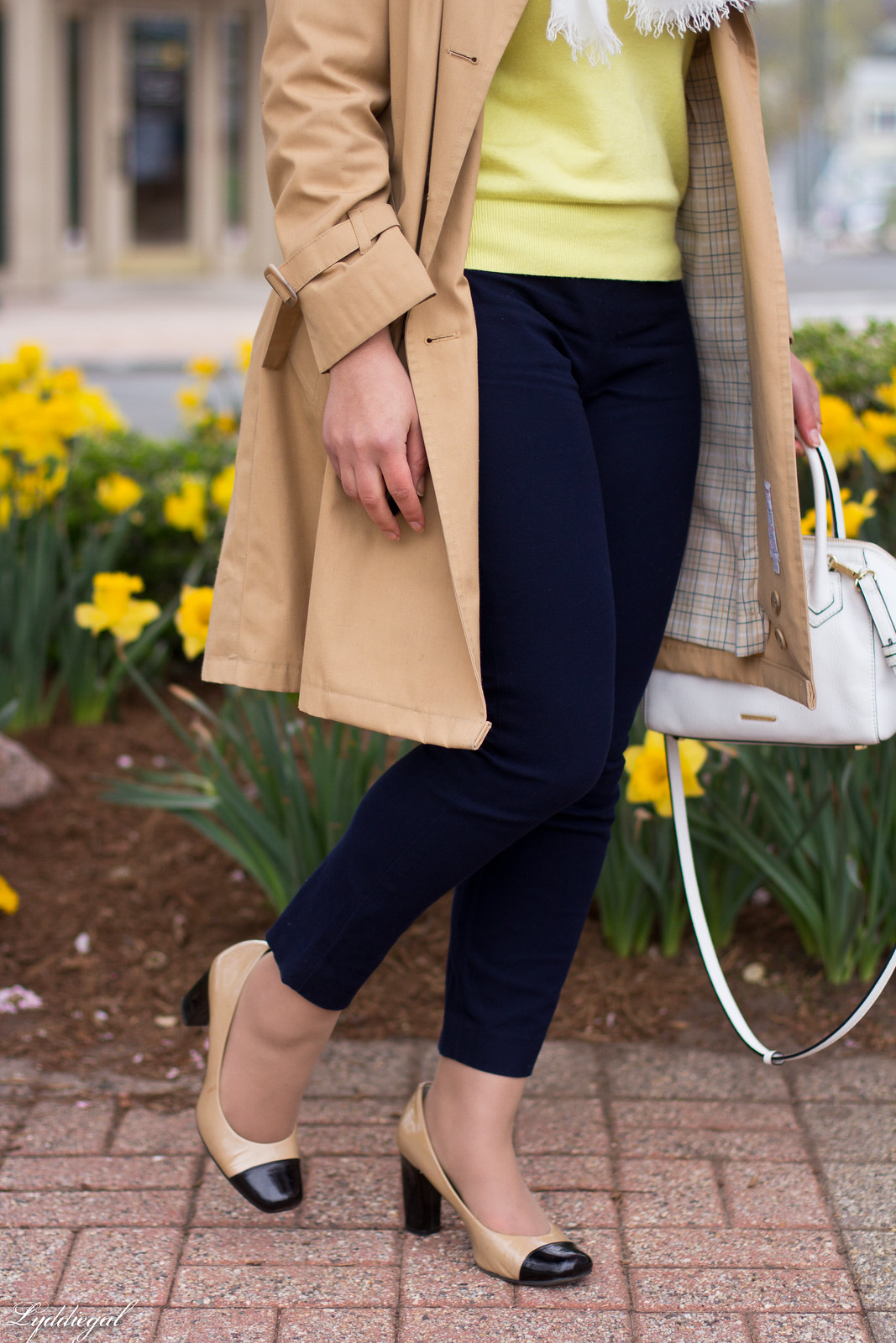 yellow sweater, navy pants, trench coat, toe cap pumps-7.jpg