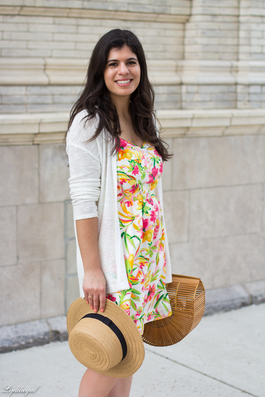 floral dress, white cardigan, straw hat, bamboo bag-8.jpg