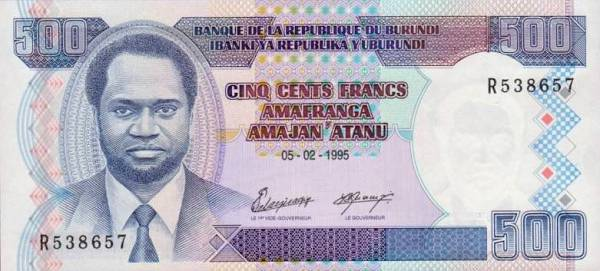 500 burundských frankov Burundi 1995, P37A