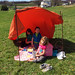They made a tent and had a picnic