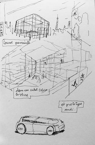 Course poursuite dans un Hôtel restaurant cube de verre creux et prototype Audi. #reve