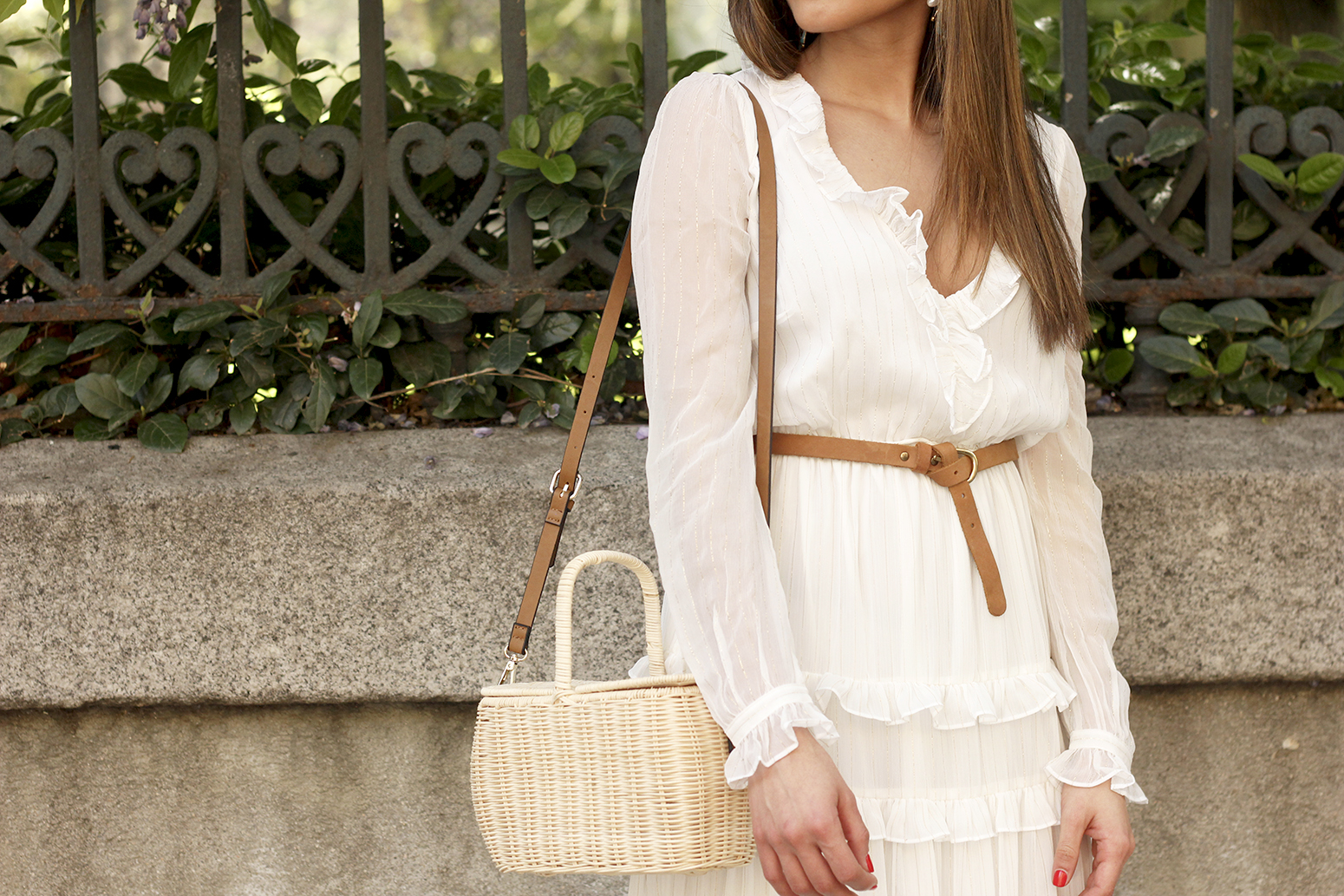 white maxi dress Subtle golden stripes wicker bag sandals céline sunnies spring outfit 12