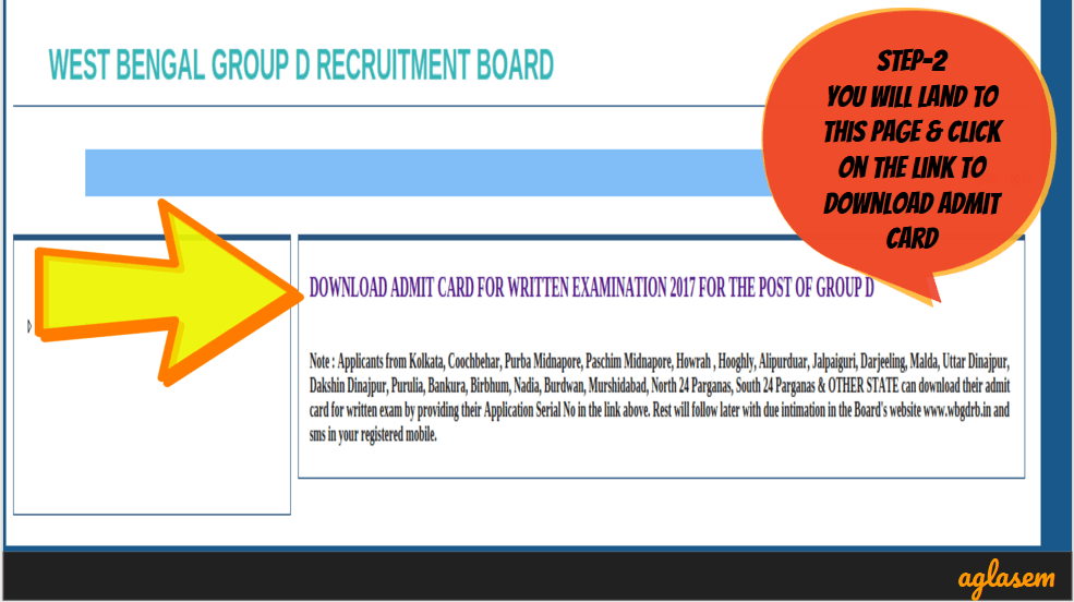 West Bengal Group D Recruitment Board Admit Card 2017   WBGDRB Hall Ticket