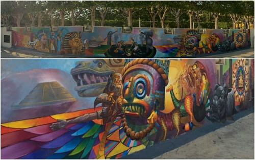 Mural Encuentro de las civilizaciones egipcia y mexicana en El Cairo