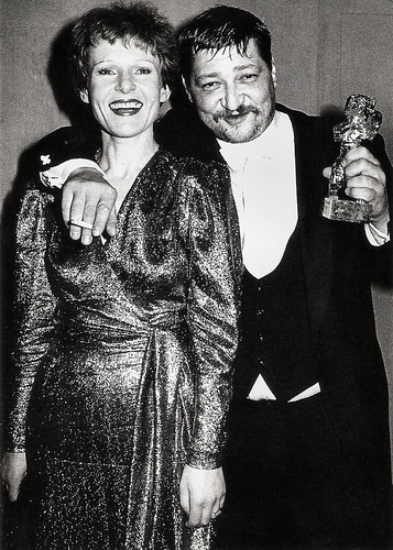 Rainer Werner Fassbinder and Rosel Zech, winning the Golden Bear for Die Sehnsucht der Veronika Voss (1982)