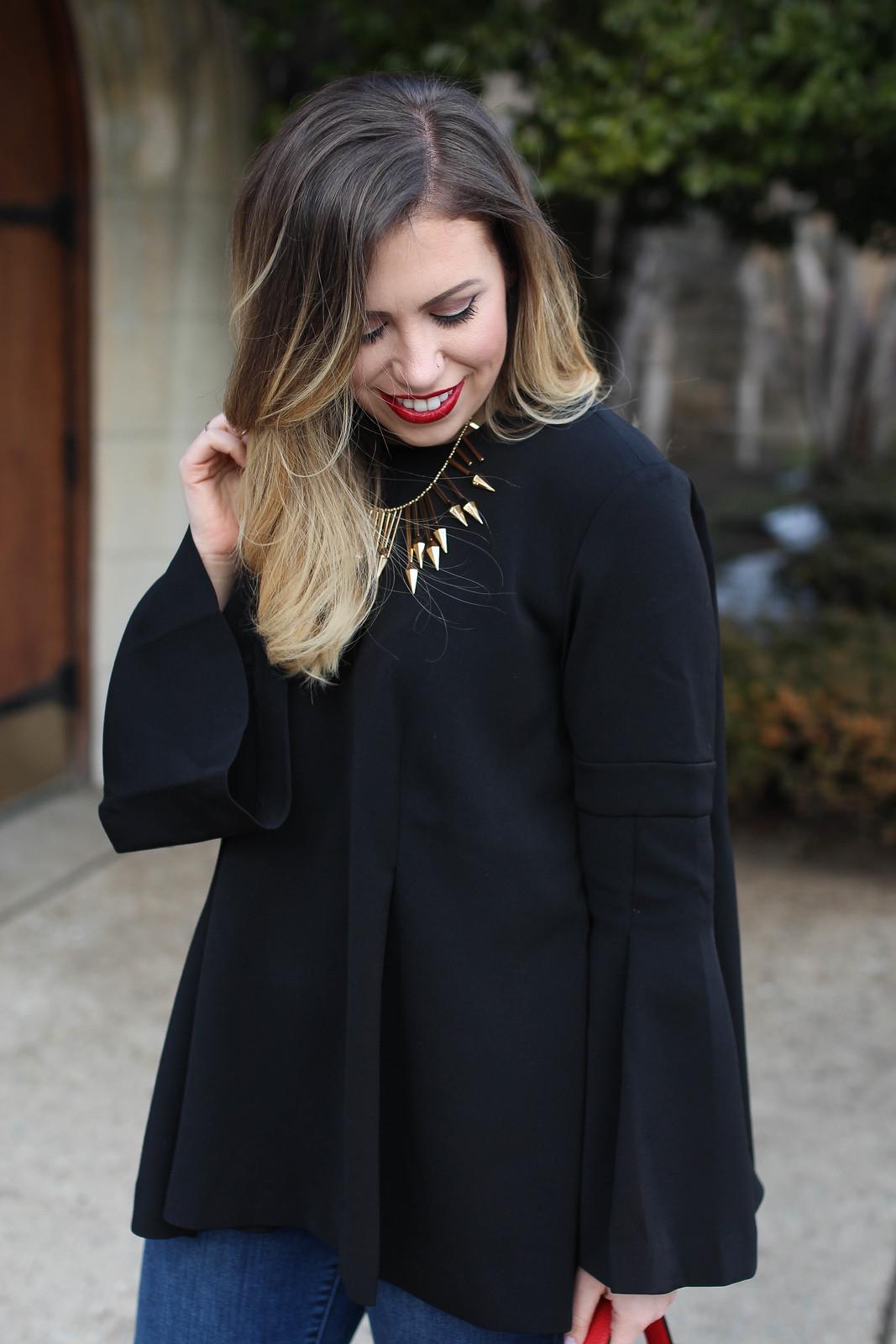 Blonde Ombre Hair | Gold Baublebar Statement Necklace