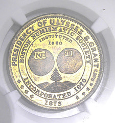 1873 Boston Numismatic Society medal in brass