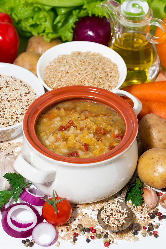 healthy lunch, soup with lentils and vegetables, vertical