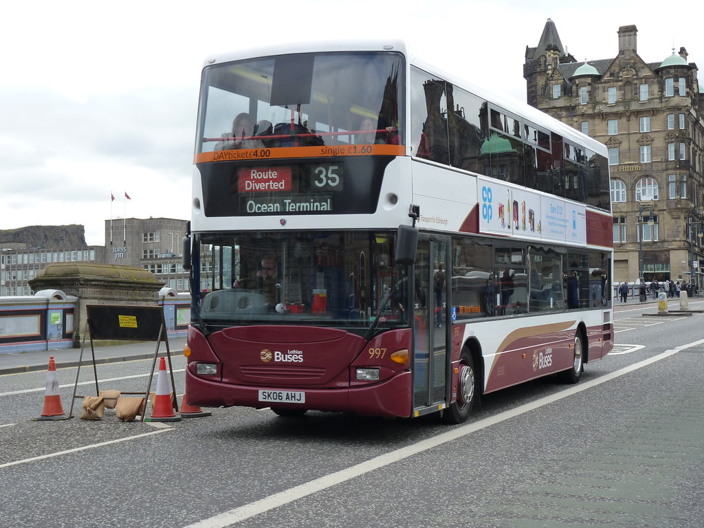 Lothian Scania Omnicity Cn94ud Sk06ahj 997 Operating Route Diverted Service 35 To Ocean Terminal At North