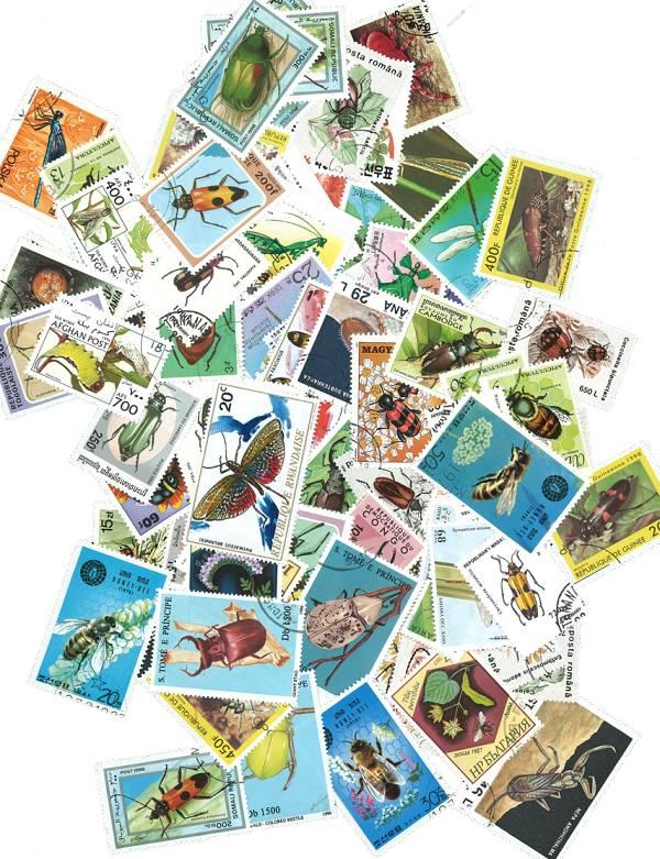 Známky hmyz  100 ks rôznych