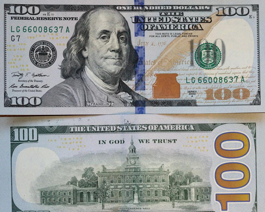 The new vs. the old American 100 dollar bill | The new 100 ... 100 Dollar Bill 2013 Back