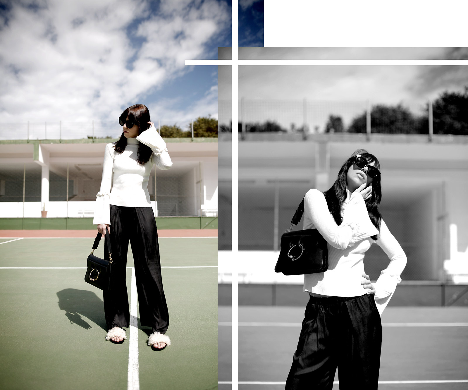 tennis edgy styling editorial photography chicwish white knit bell sleeves silk pants summer heat style céline audrey sunglasses j.w.anderson pierce bag zara sandals shadows fashionblogger outfit ootd modeblog cats & dogs ricarda schernus düsseldorf 3