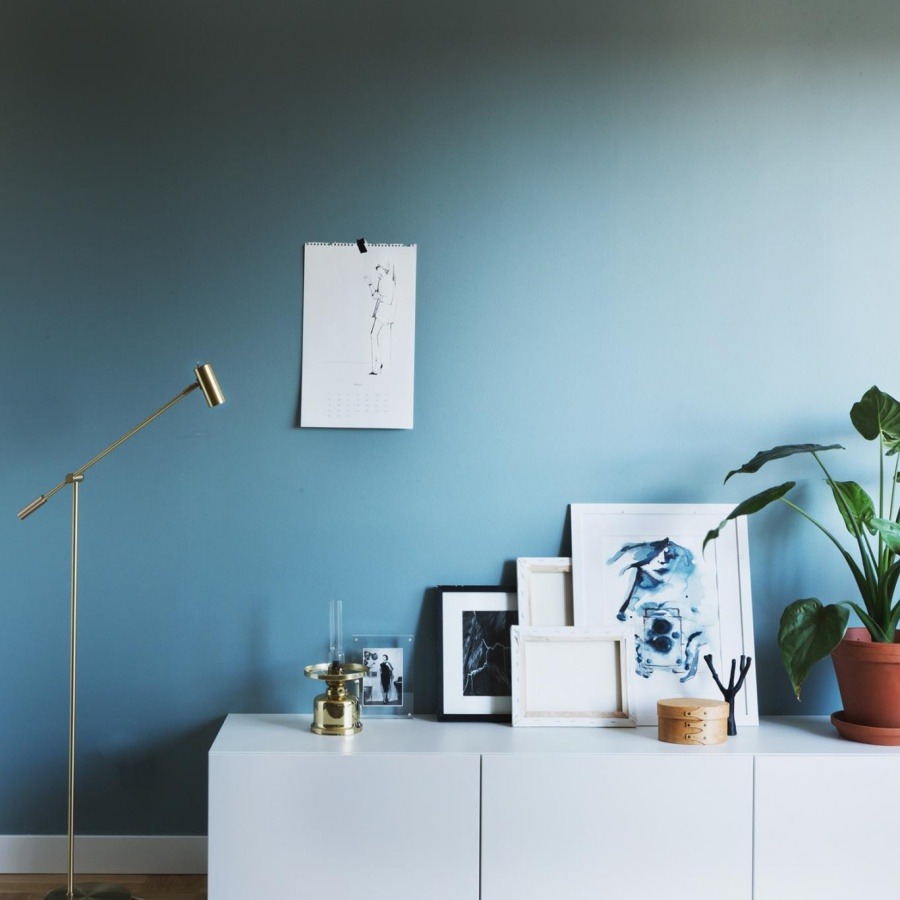 Stunning Minimalist Home with Blue Walls