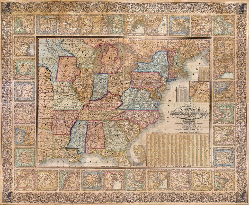 Mitchell Wall Map of the United States (1845)