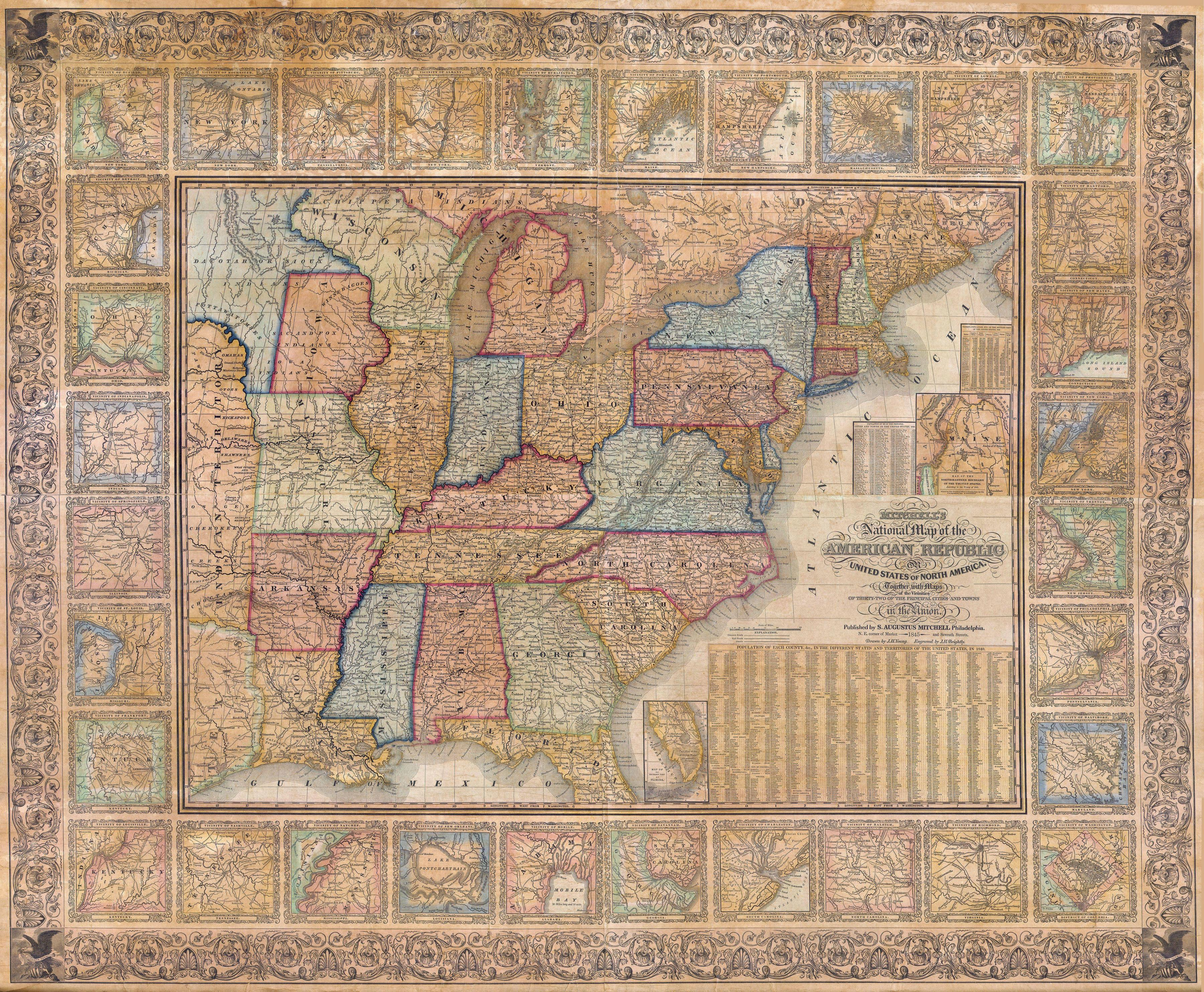 Historical Maps Of The United States And North America Vivid Maps - Area map of us 1845