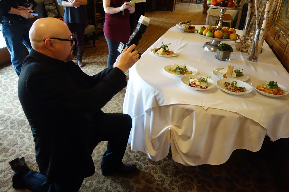 Roger takes aim at delicous menu items at Glenerin inn and Spa in Mississauga