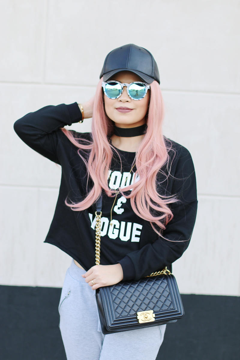 vodka-vogue-sweater-sweatpants-pink-hair-chanel-boy-bag-6