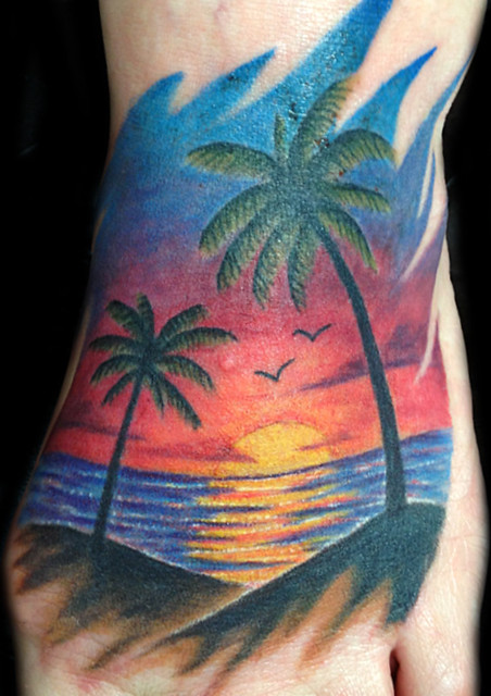 Freehand beach sunset with palm trees flickr photo for Beach sunset tattoos