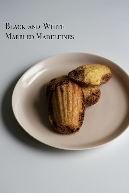 black-and-white marbled madeleines