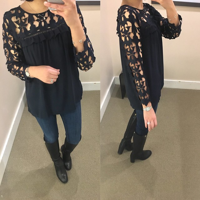 LOFT Cutout Lace Top, size XS regular