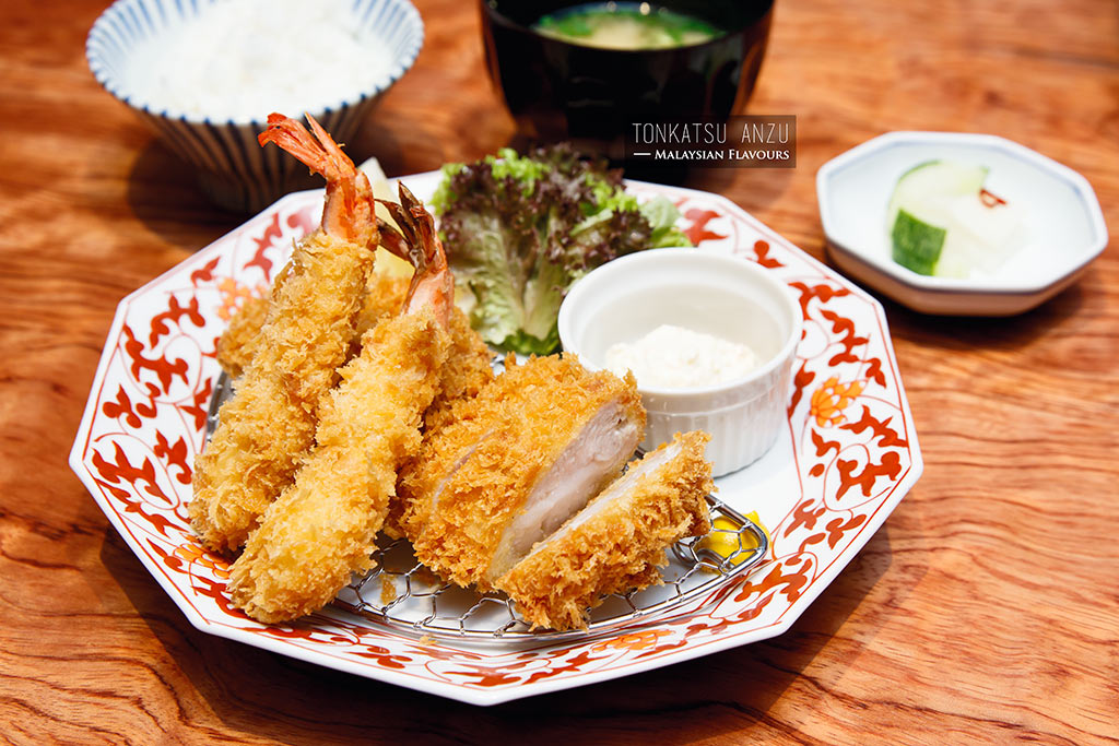 Tonkatsu Anzu fried shrimp and pork loin set