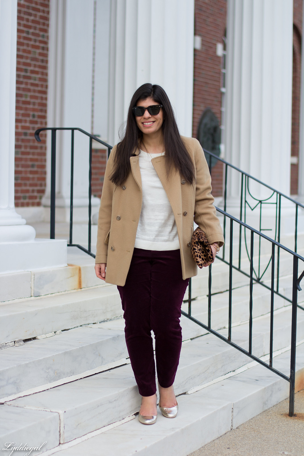 velvet pants, camel coat, silver pumps, leopard clutch.jpg