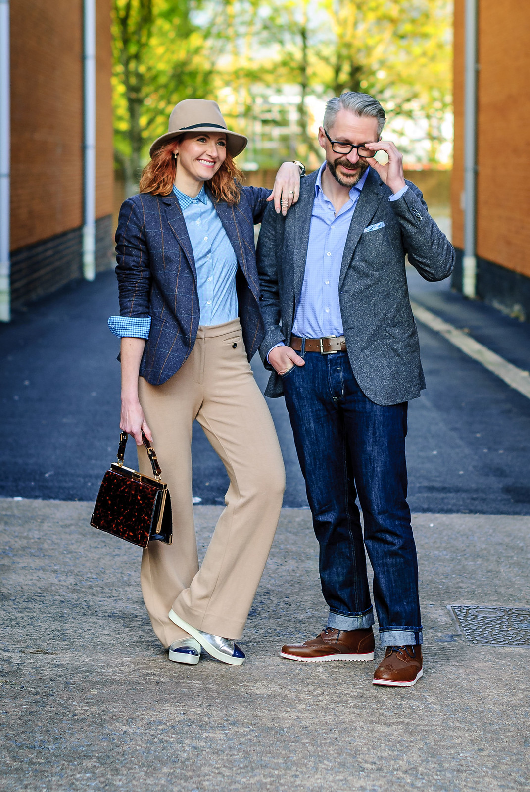 British workwear tailoring by Arthur Shirtley: Smart casual menswear outfit \ tweed blazer \ check shirt \ dark wash straight leg jeans \ brown high top brogues | Silver Londoner, over 40 menswear