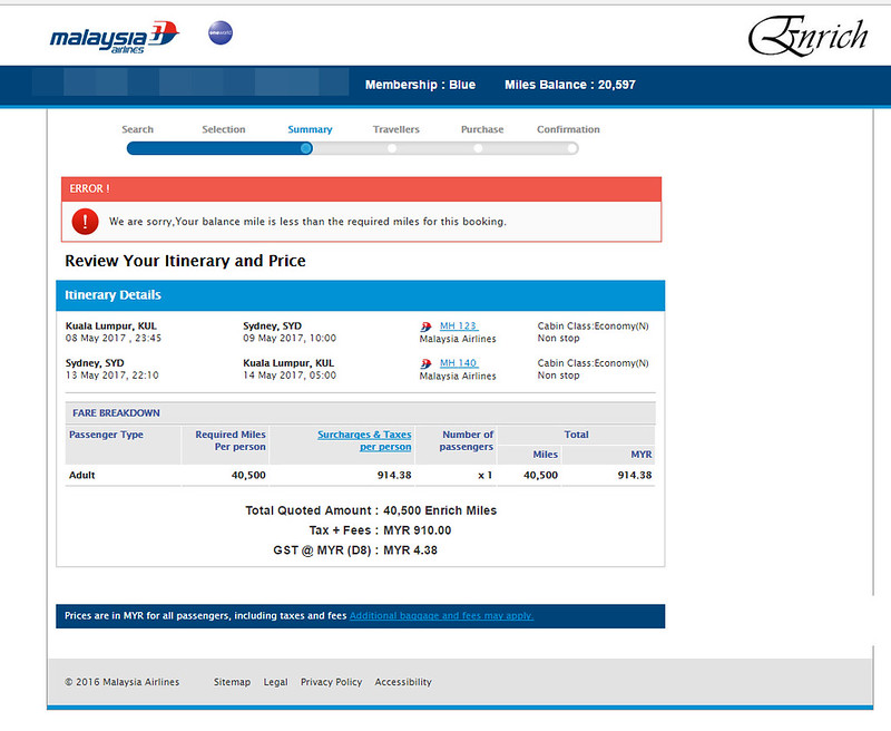 sydney enrich mas total price