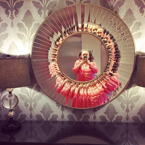 in a hotel mirror