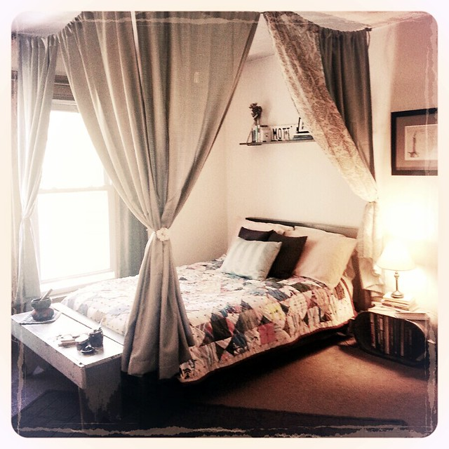 diy canopy bed rope small hooks and cheap curtains flickr photo